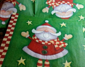 2 red and Green Santa paper napkins