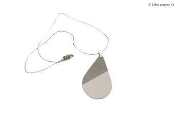 CONCRETE IMITATION / / imitation white concrete drop silver pendant necklace