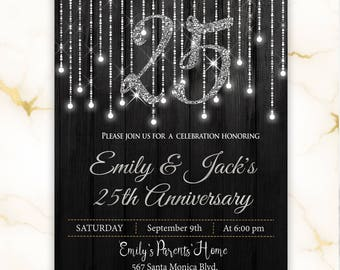 25th anniversary invitations etsy silver wedding anniversary invitation anniversary party invitation anniversary invitations 25 years printed or stopboris Gallery