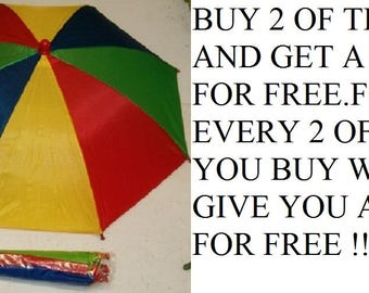"""Multi Color Fold Up Umbrella Hat With 19"""" Canopy Opened, Buy 2 Get 1 Free"""