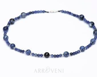 Sodalite necklace, Black Tourmaline necklace, Blue Jade necklace, gemstone necklace, Beaded necklace, Natural stones necklace, Blue necklace