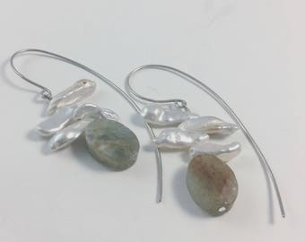 Agate and Freshwater pearl earrings