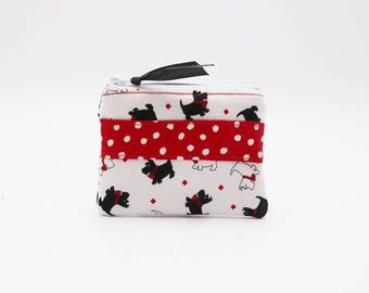 Scotties and Westies on White Background Polka Dotted Red Stripe Coin Purse