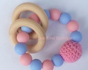 Pink & Blue Teething Rattle