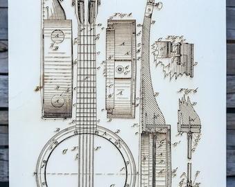 B. Bradbury's Banjo - Wood Burned Patent