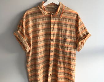 vintage 1970s Men's button up shirt (groovy striped multi-color) eco-friendly & sustainable