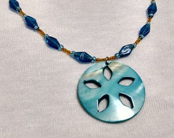 Blue and Orange Shell Necklace