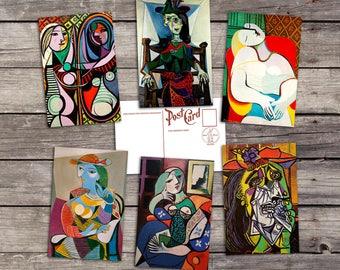 Pablo Picasso 6 postcards   surrealism art poster   spanish artist   Le Rêve illustration   The Weeping Woman   postcard set