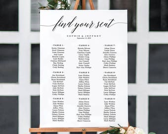 6 Sizes Wedding Seating Chart Template,Seating Chart Printable,Seating  Board,Editable Seating