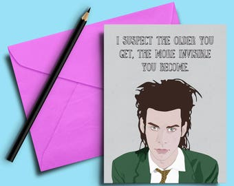 Nick Cave the Birthday Party Illustrated Funny Birthday Thank You Greeting Card