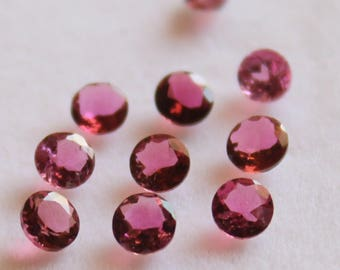 Natural Pink Tourmaline Round Faceted AAA Quality For 10 Pieces