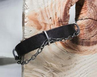 leather bracelet with silver links . bracelet. leather bracelet. woman bracelet