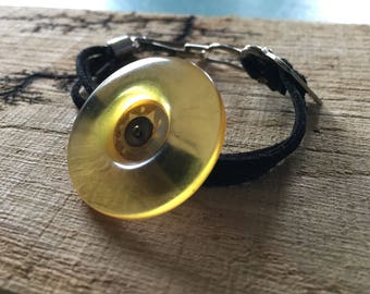 Authentic vintage Yellow Button bracelet with suede strap and garter clasp bracelet