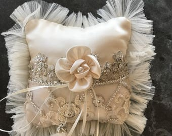 Cream satin with lace embellished pillow size 6 x 6 cream bow