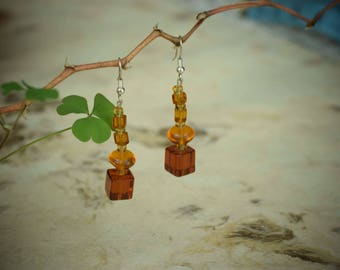 Handmade jewelry. Beautiful Crystal earrings in Amber color. Boho style. Special gift for Women.