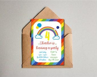 Stripy Rainbow Birthday Party Invite, Children's Birthday Invite, 4th Birthday, Kids Birthday, Custom Printable
