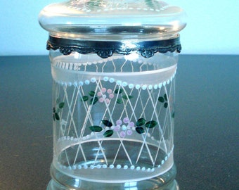 Painted Clear Glass Apothecary Jar with Silver Metal Rim