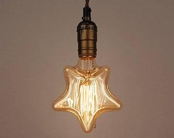 Edison Light Bulb star shaped E27 Squirrel Cage Filament Vintage Industrial Style 110V - 220V