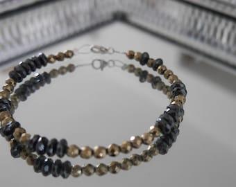 BRACELET with onyx stones, boho chic trendy