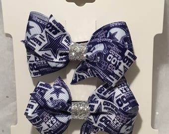 Cowboys Pigtail Hair Bows Set
