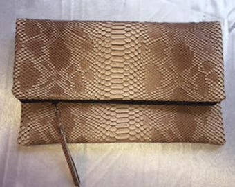 Foldover Beige Faux Viper Snakeskin Zippered Clutch