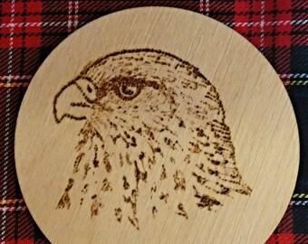 Luxury Scottish Falcon Art Wooden Coaster