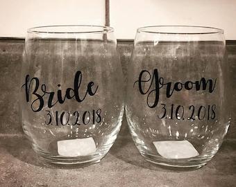 Bride and Groom Wine Glasses, Bride Wine Glass, Groom Wine Glass, Bridal Shower Gift