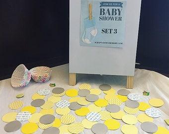 Baby Shower Confetti - Set 3 - Circle Die Cuts - Round Die Cuts - Yellow Baby Shower - Decoration - Paper Crafts