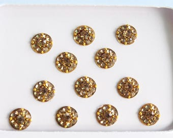 Wedding Round Gold Bindis Stickers,Bollywood Wedding Round Bindis,Stone Bindis,Gold Bindis,India Bindis,Self Adhesive Stickers