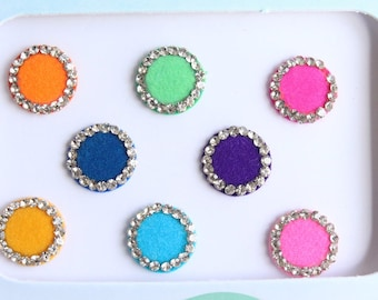 8 Multi color Wedding Round Bindis ,Round Bindis,Velvet Colorful Bindis,Colorful Face Jewels Bindis,Bollywood Bindis,Self Adhesive Stickers