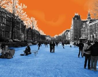 Herengracht in orange & blue