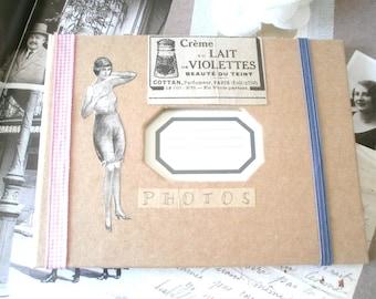 Photo album retro vintage kraft, pink/white gingham Ribbon, sepia illustrations.