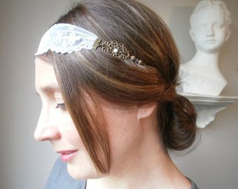Headband/wedding lace white English, antique bronze metal, Swarovski, retro style, romantic and vintage bicones.