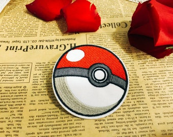 Poke ball iron on patch /cartoon patch /embroidered patch/cartoon patch /pokemon patch/iron on jackets/hats/jeans/DIY