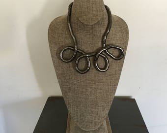 Pewter toned bendable 8mm snake necklace
