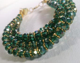 Five Strand Green Bracelet with Gold Highights