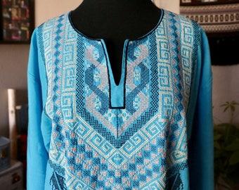 Blue Kaftan, Ethnic Kaftan, Caftan, Cotton Kaftan