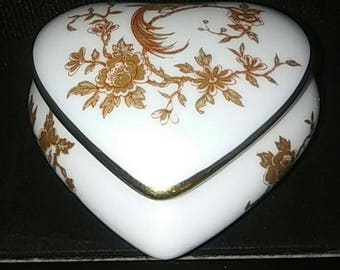 Large Rochard Limoges France Heart with Lid Trinket Box