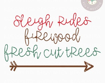 Christmas SVG, Sleigh Rides Svg, Fresh Cut Trees SVG File, Winter Sign Svg, Holiday Svg, Cutting File, Christmas Svg Cut File, Christmas