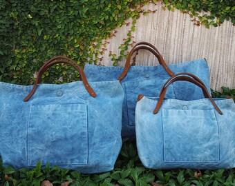 Large Indigo canvas tote bag, carry all, multipurpose tote bag