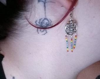 rainbow geometric earrings set