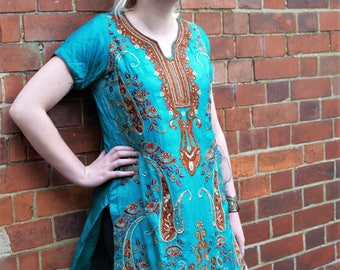 Silk teal/turquoise embroidered dress/kurti