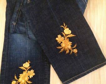 Gold flower jeans