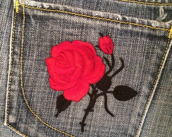 Red flower chain jeans