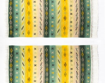 Set of two kilim rugs handmade / ethnic boho kilim 72x140cm - Free delivery