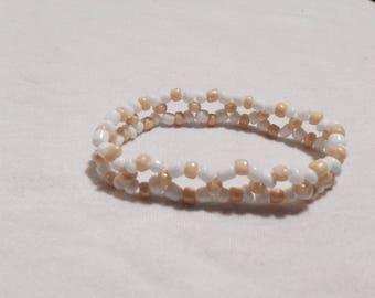 White & Gold Glass Bead Double Braid Stretch Bracelet - Standard Size