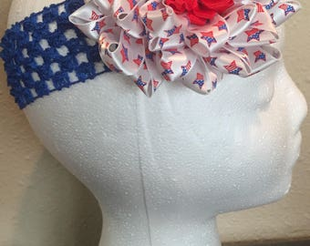 Red white and blue flower hair bow with headband