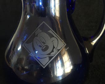 Vintage Walt Disney World Mickey & Minnie Mouse Cobalt Silhouette Pitcher