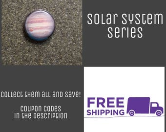"1"" Jupiter - Solar System Series Button Pin or Magnet, FREE SHIPPING & Coupon Codes"