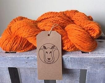 Chunky orange handspun merino wool